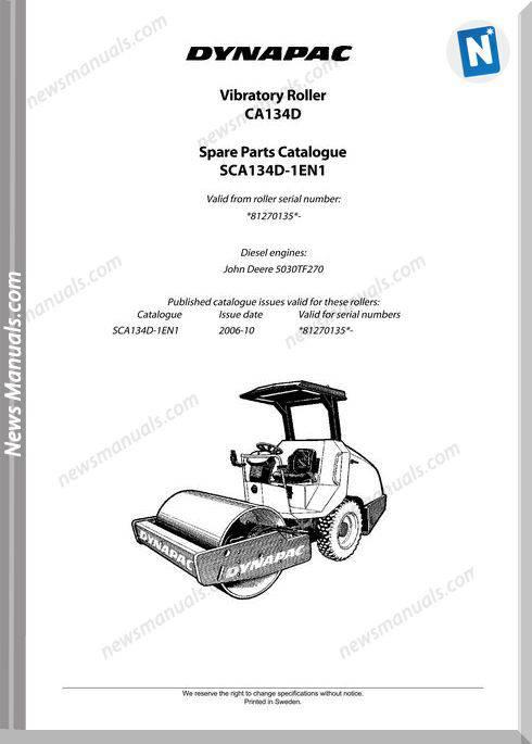 Dynapac Models Ca134 Parts Catalogue