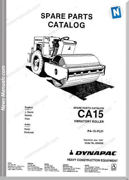 Dynapac Models Ca15 Parts Catalogue