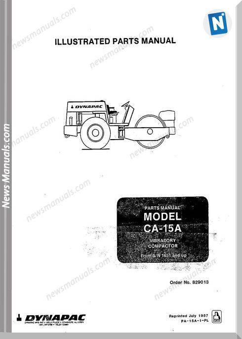 Dynapac Models Ca15A Parts Catalogue