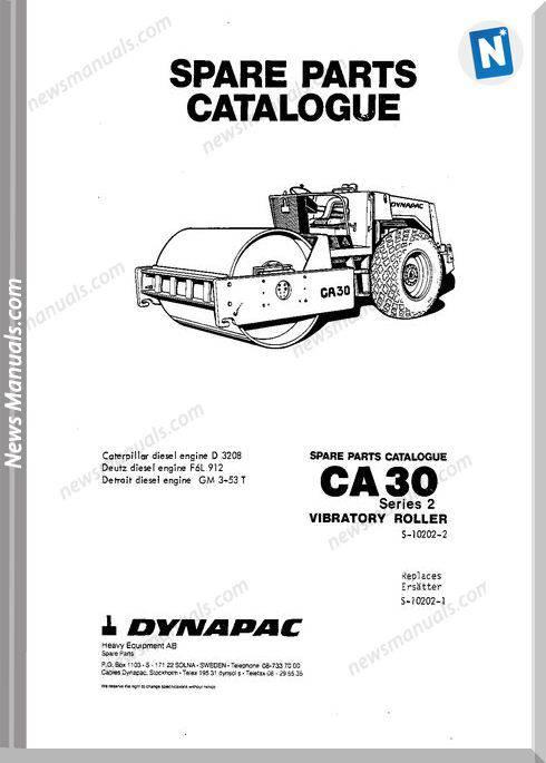 Dynapac Models Ca30 2 Parts Catalogue