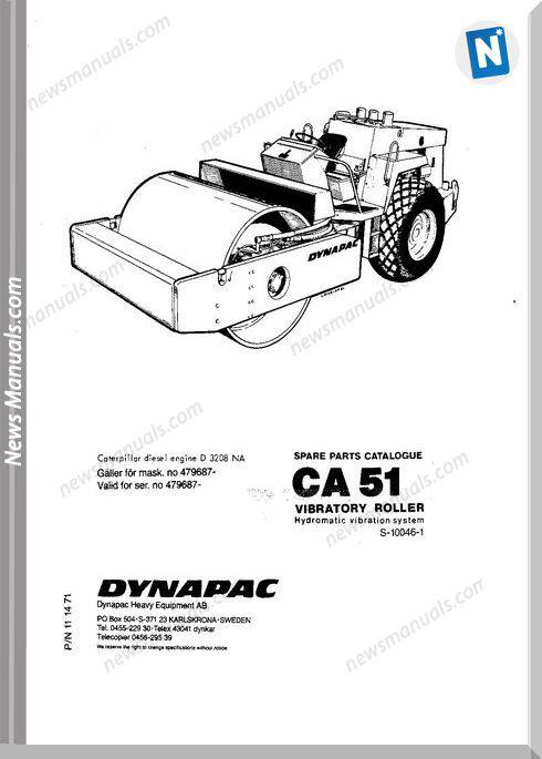 Dynapac Models Ca51 2 Parts Catalogue