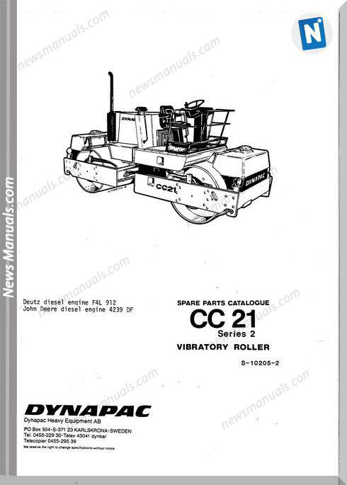 Dynapac Models Cc21 2 Parts Catalogue