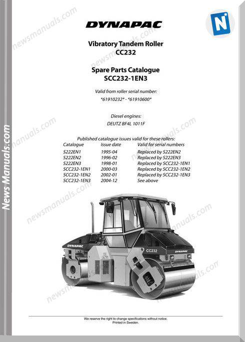 Dynapac Models Cc232 Parts Catalogue