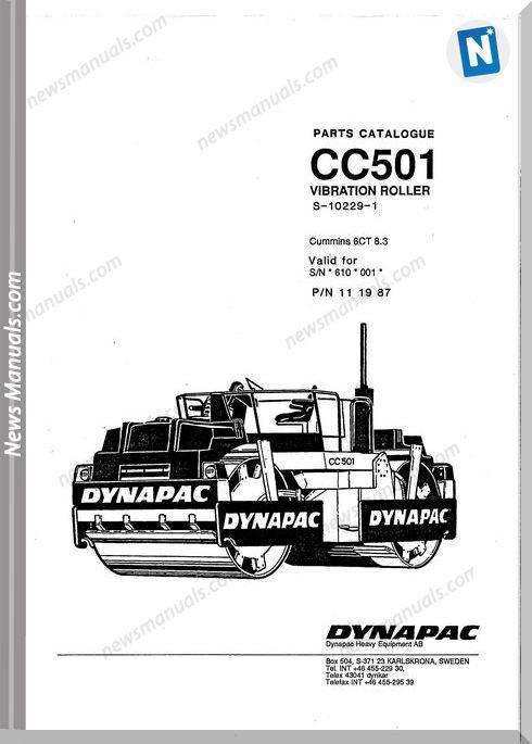 Dynapac Models Cc501 Parts Catalogue