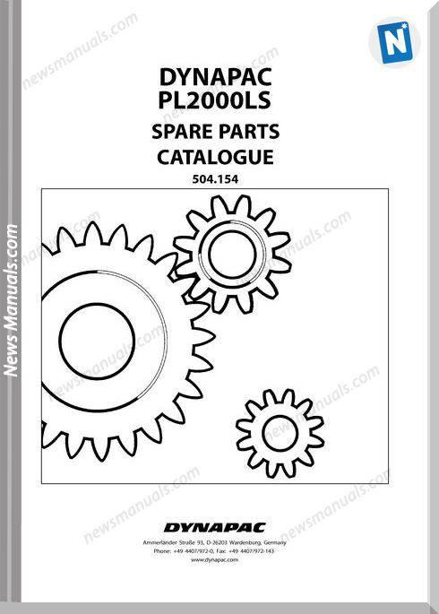 Dynapac Models Pl2000 4 Parts Catalogue