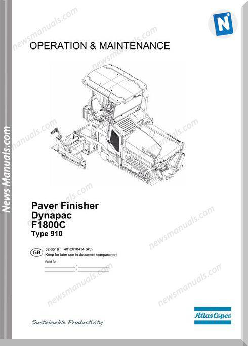 Dynapac Paver Fisher F1800C Operation And Maintenance