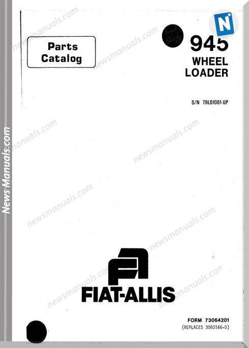 Fiat Allis 945 Pm Models Wheel Loader Parts Manual