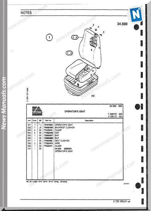 Fiat Allis Excavator Model Fx350Lc Parts Catalog