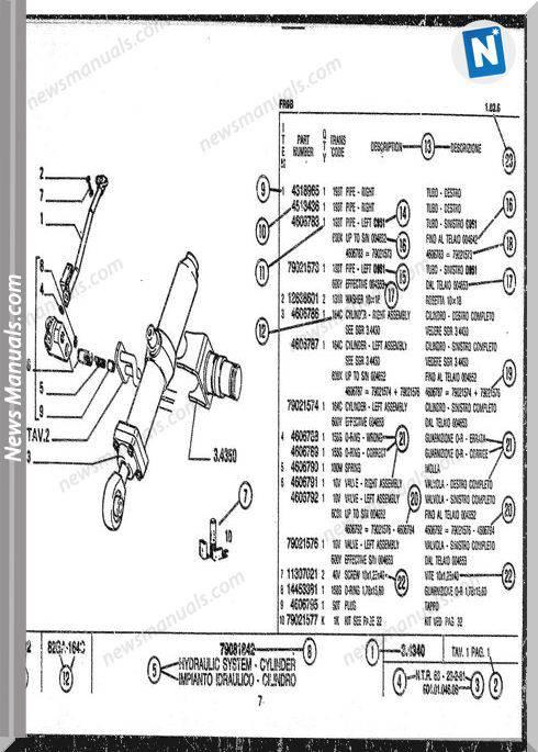 Fiat Allis Fr10C Wheel Loader Sn 613101-Up Parts Manual