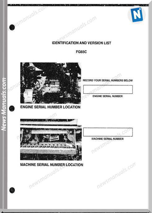 Fiat Allis Motor Grader Model Fg65C Parts Catalog