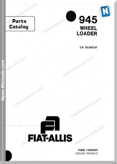 Fiat Allis Wheel Loader Model 945 Parts Catalog