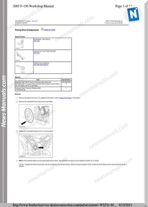 Ford F 150 2005 Timing Drive Components Workshop Manual