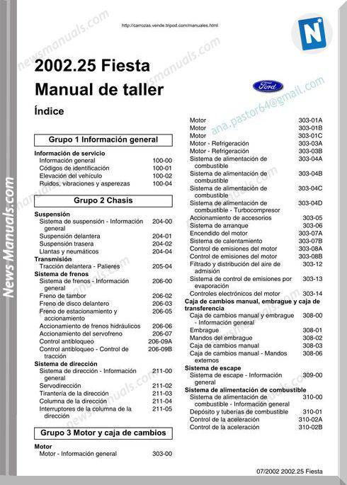 Ford Fiesta (2002-2007) Service Manual