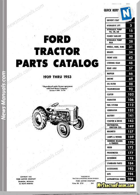 Ford Master Tractor Parts Manual 9N 2N 8N Naa