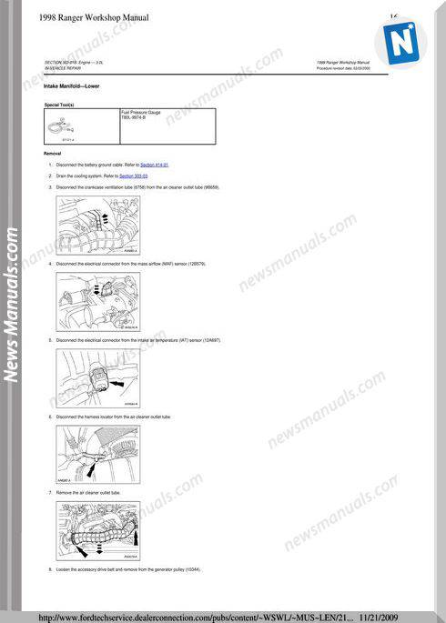 Ford Ranger Intake Manifold 1998 Workshop Manual