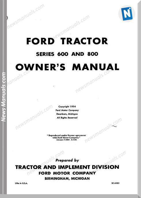 Ford Tractor 600 800 Owners Manual