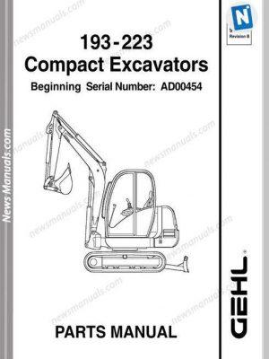 Gehl 193 223 Compact Excavator Parts Manual 918036
