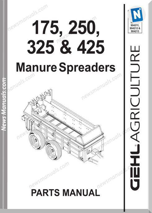Gehl Agri 175 250 325 425 Manure Parts Manual 908042