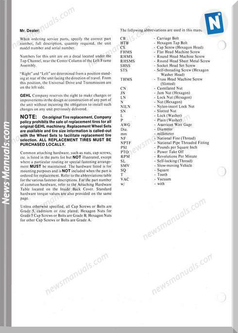 Gehl Agri Rb1460 Round Baler Parts Manual 903410