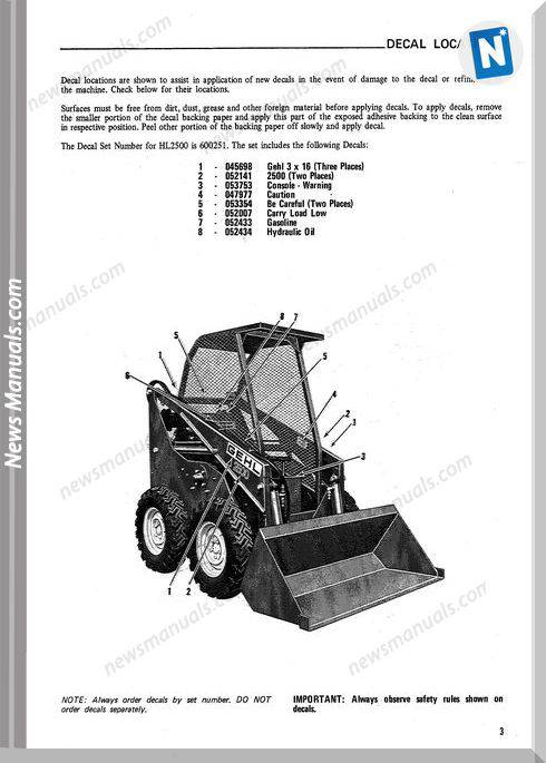 Gehl Hl2500 Skid Loader Parts Manual No. 901213