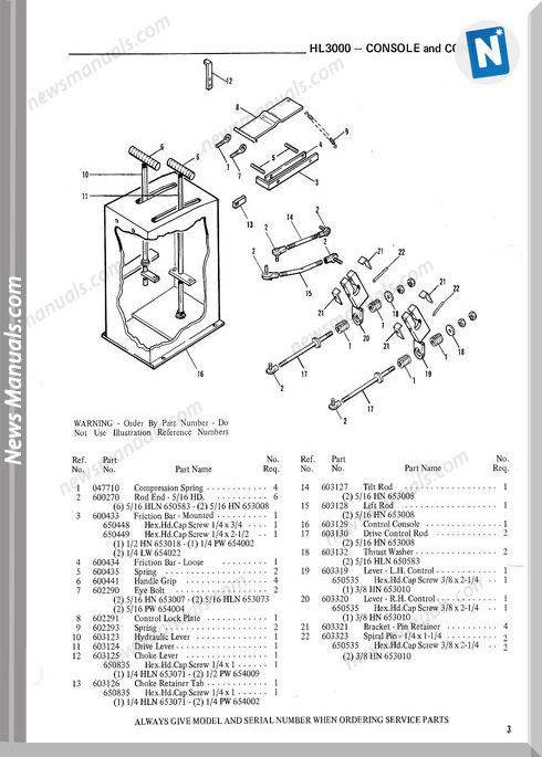 Gehl Hl3000 Skid Loader Parts Manual No. 901939