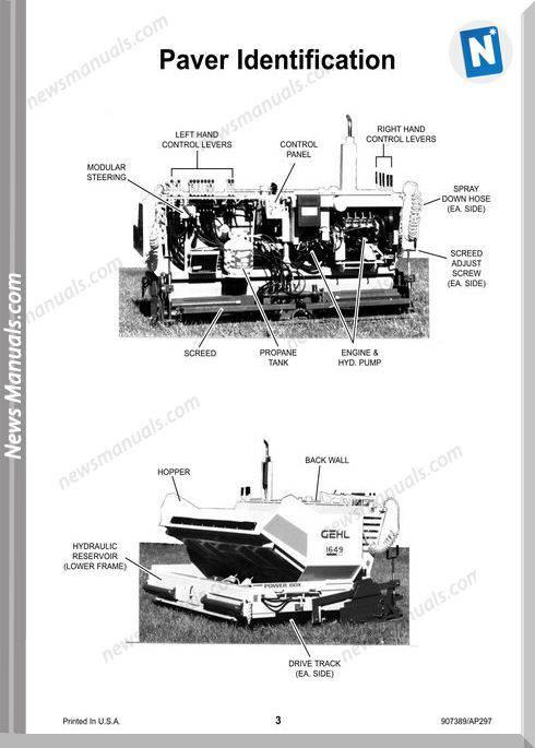 Gehl Pavers 1639 1649 Models English Operator Manual