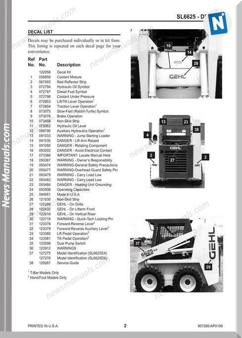 Gehl Sl6625 Skid Loader Parts Manual No Number 907286