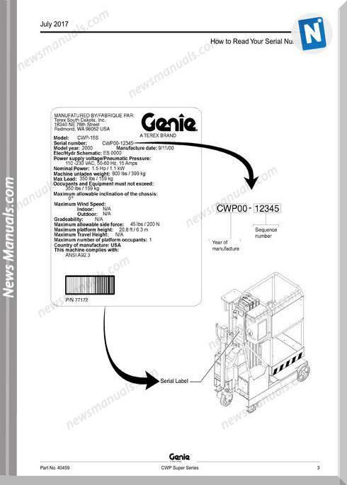 Genie Model Cwp Super Series Parts Manual English