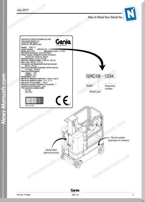 Genie Model Grc-12 Parts Manual English Language