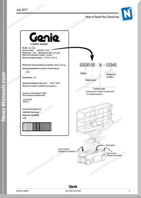 Genie Model Gs-1930 Parts Manual English Language