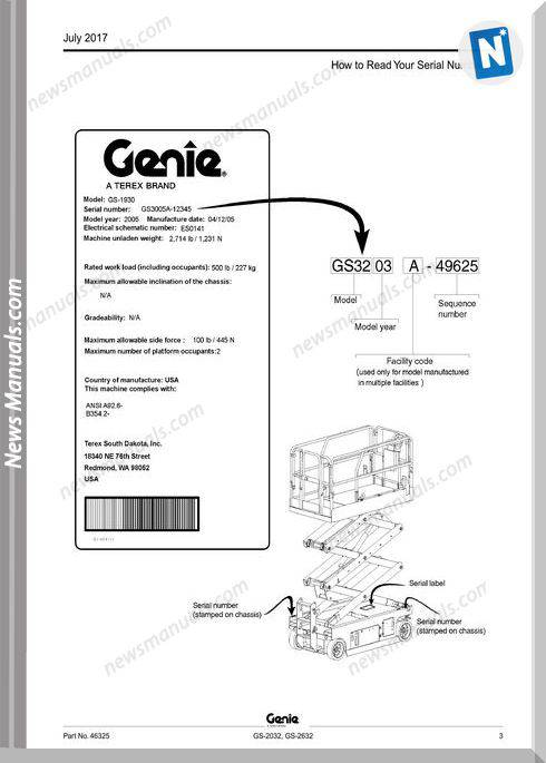 Genie Model Gs-2632 Parts Manual English Language