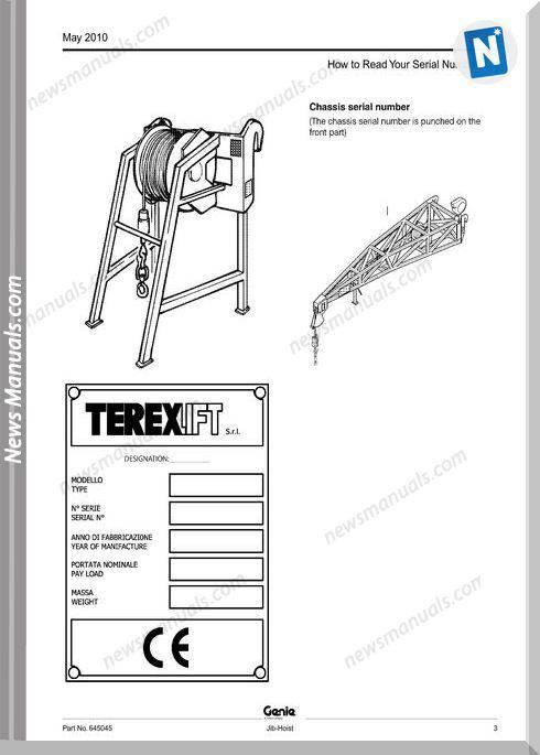 Genie Model Jib-Hoist Parts Manual English Language