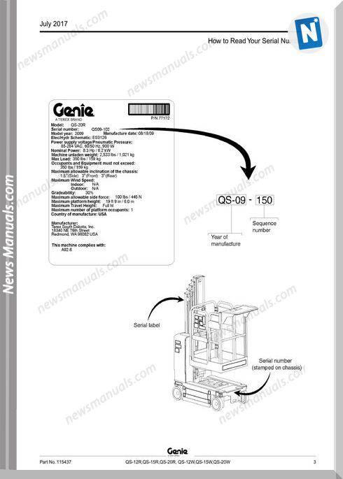 Genie Model Qs-20W Parts Manual English Language