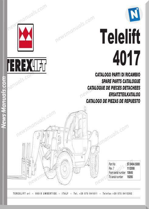 Genie Model Telelift 4017 Models English Parts Manual