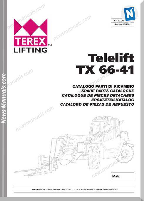 Genie Model Telelift Tx66-41 Parts Manual English