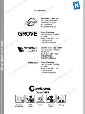 Grove Manitowoc Crawler Crane 16000 16001 Operators Manual