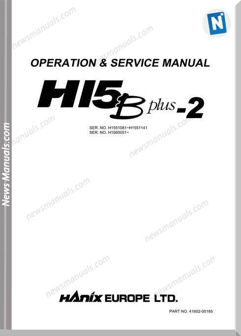 Hanix H15Bplus 2 English Operation And Service Manual