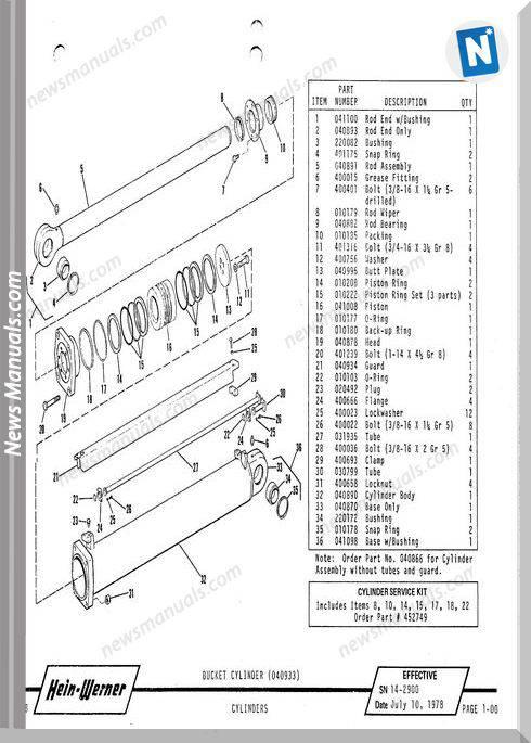 Hein Warner C14B Pm 9308138 Parts Manuals