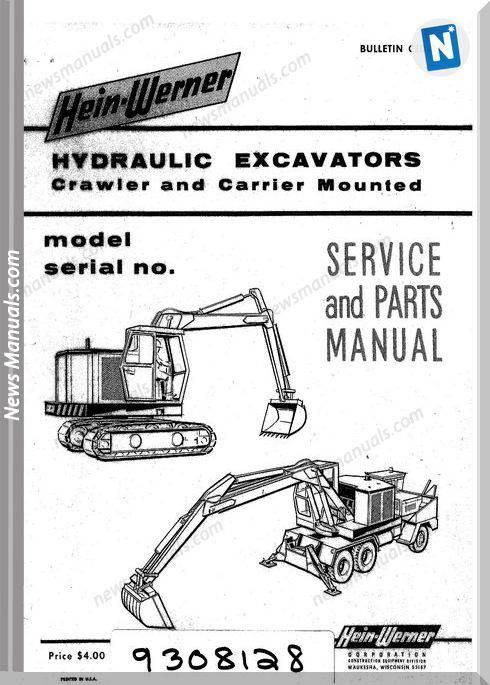 Hein Warner Hydraulic Excavator Spm 9308128 Parts Manuals