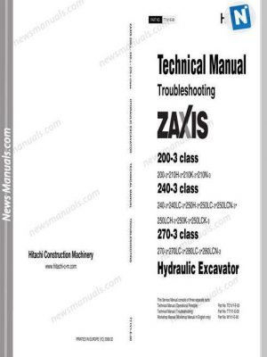 Hitachi Excavator Zaxis Zx210-3,280-3 Technical Manual