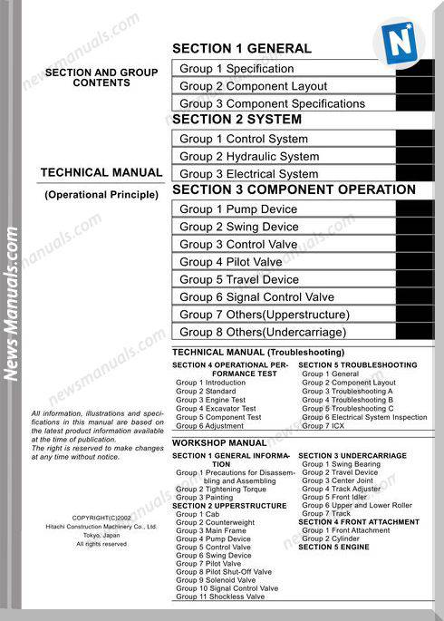 Hitachi Excavator Zaxis Zx450 Technical Manual Operational