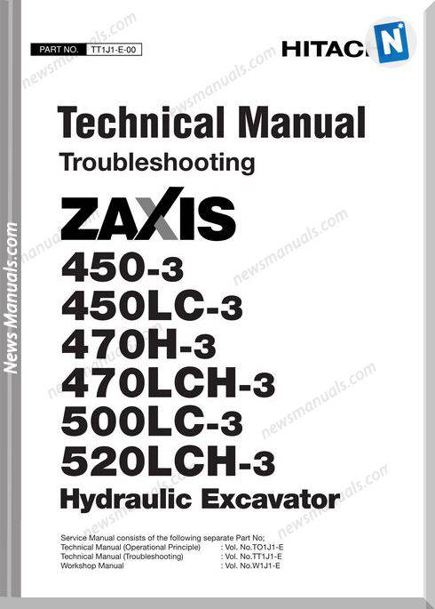 Hitachi Excavator Zaxis Zx470-3 Technical Manual