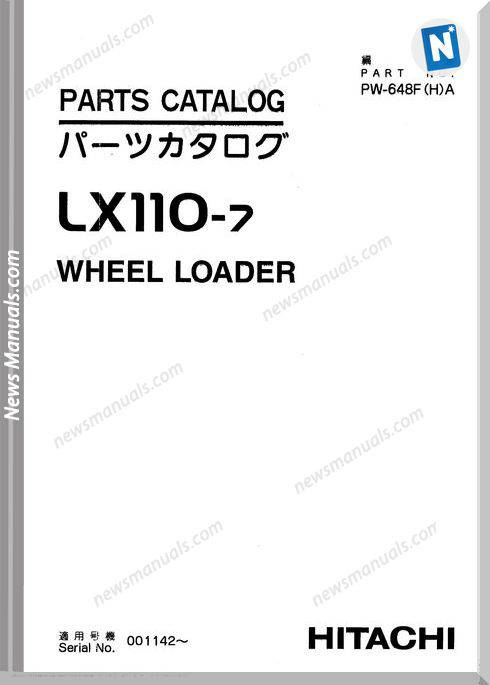 Hitachi Lx110-7 Wheel Loader Parts Catalog Manual