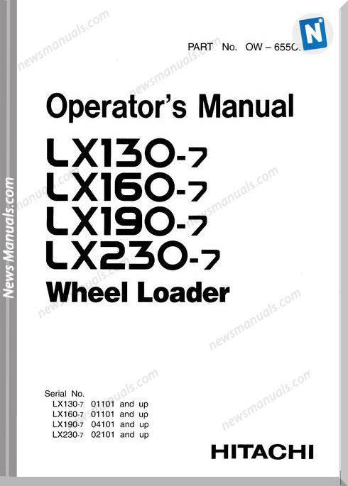 Hitachi Lx130-7,Lx160-7,Lx190-7,Lx230-7 Operator Manual