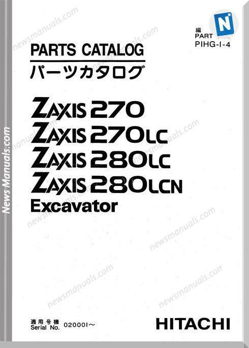 Hitachi Zaxis 270,270Lc,280Lc,280Lcn Parts Catalogue