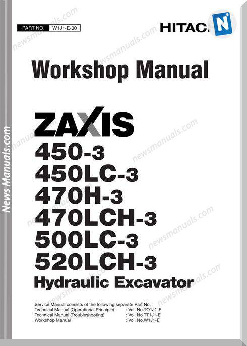 Hitachi Zaxis 450,450Lc,470H,470Lch,500 Workshop Manual