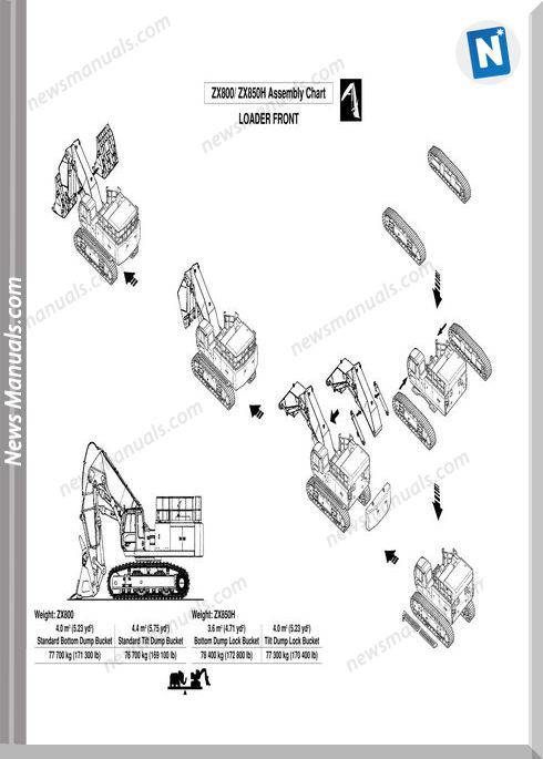 Hitachi Zaxis 800,850H Assenbly Procedure Repair Manual