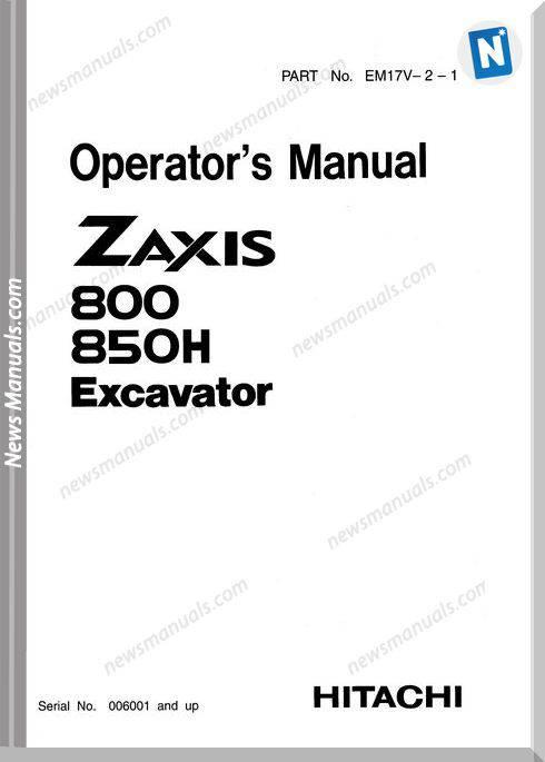 Hitachi Zaxis 800,850H Operator Manual