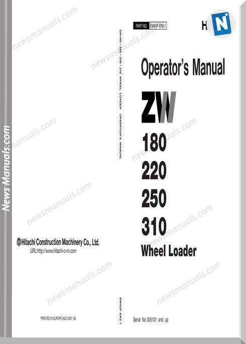 Hitachi Zw180,220,250,310 Wheel Loader Operator Manual