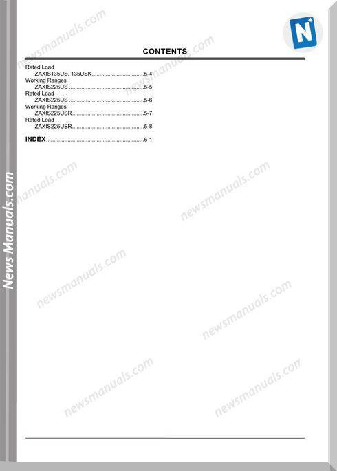 Hitachi Zx125Us-225Usr Ml Em1Se-Ml1-1 Operation Manual